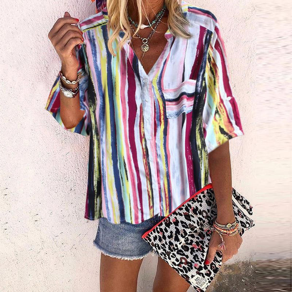 Fashion Turndown Collar Half Sleeve Striped Loose Blouse