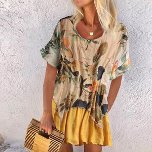 Casual Round Neck Short Sleeve Fake Two-Piece Printed Colour Dress