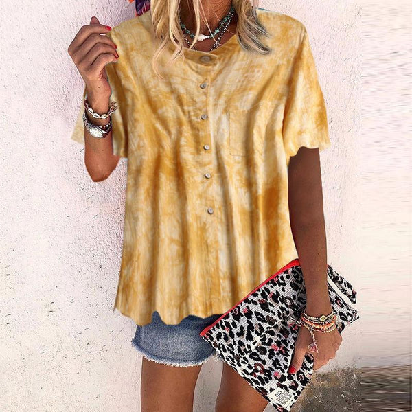 Cute Turndown Collar Short Sleeve Printed Colour Loose Blouse