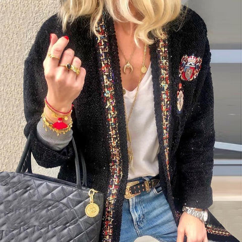 Classic Tweed Badge Colouring Long Sleeves Loose Cardigan