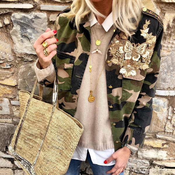 Casual Long Sleeve Camouflage Pattern Jacket