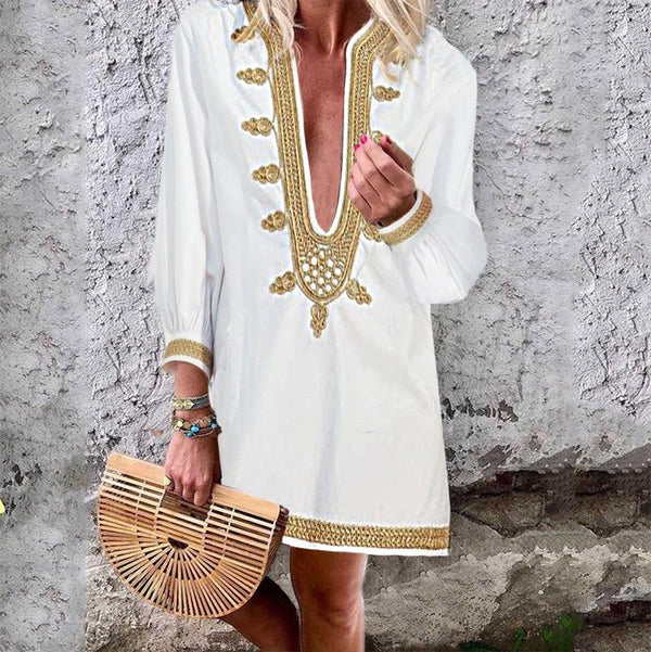 Fashion Sexy Deep V Neck Long Puff Sleeves Dress
