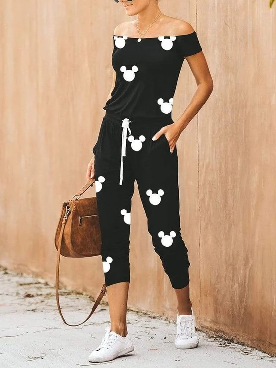 Casual Daily Printed Boat Neck Elastic Waist Jumpsuit