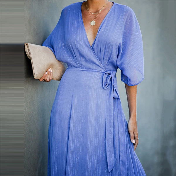 Casual Pure Color V Neck Half Sleeve Dress