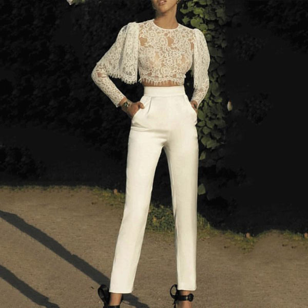 Women Fashion Lace Exposed Navel Plain Suits