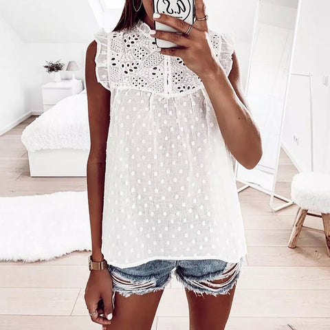 Women's Commuting Hollow Out Sleeveless Loose Tank Top