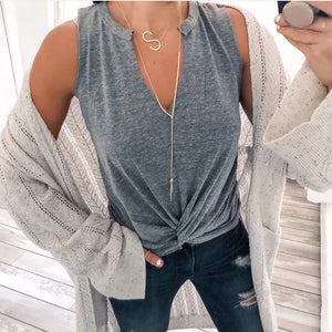 Casual Pure Color V Neck Sleeveless Tank Top
