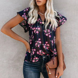 Fashion Casual Floral Printed V-Neck Flare Short Sleeves Blouse