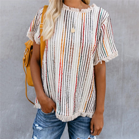 Casual Striped Short Sleeve Round Neck Shirt
