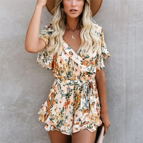 Casual Floral Printed V Neck Flounce Romper