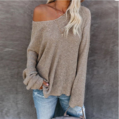 Women's Solid Color Round Neck Knit Top