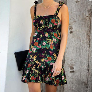 Sexy Sling Floral Print Dress