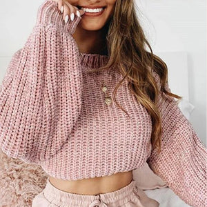 Fashion Casual Round Neck Plain Sweater