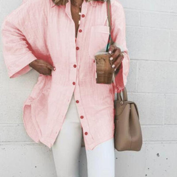 Casual Loose Fold-Over Collar Pocket Pink Long Sleeves Midi Shirt