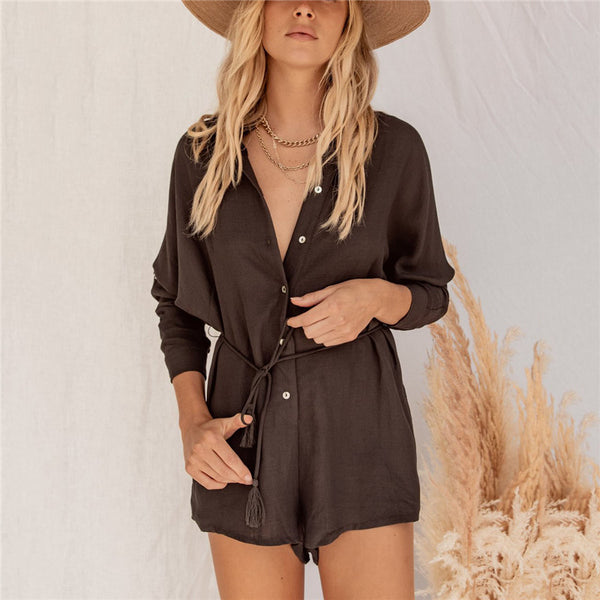 Casual Pure Color Long Sleeve Lapel Romper