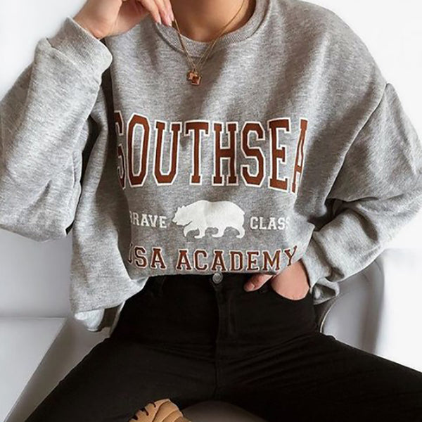 Casual Round Neck Long Sleeve Letter T-Shirts
