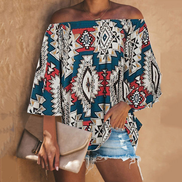 Women's Printed One-Shoulder Long-Sleeved T-Shirt