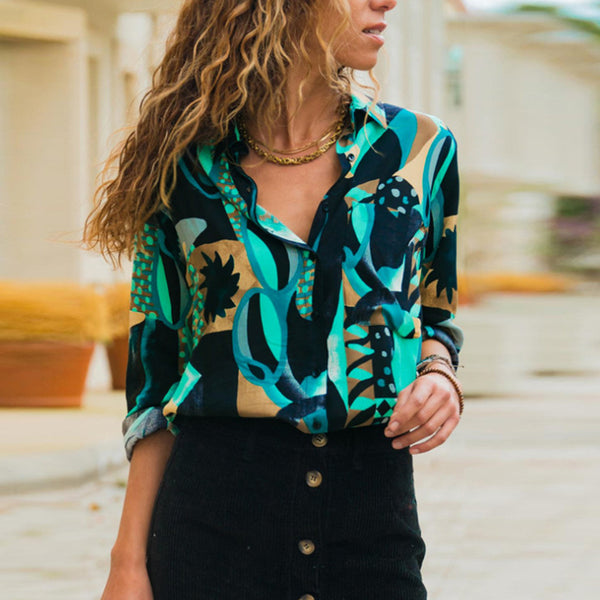 Fashion Casual Color Print Lapel Long Sleeves Shirt