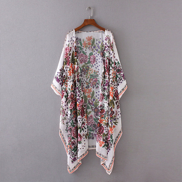 Fashion Women Printed Loose Chiffon Irregular Hem Cardigan