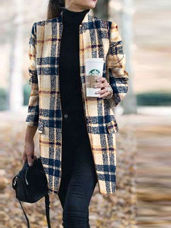 Women's Fashion Stitching Plaid Coat