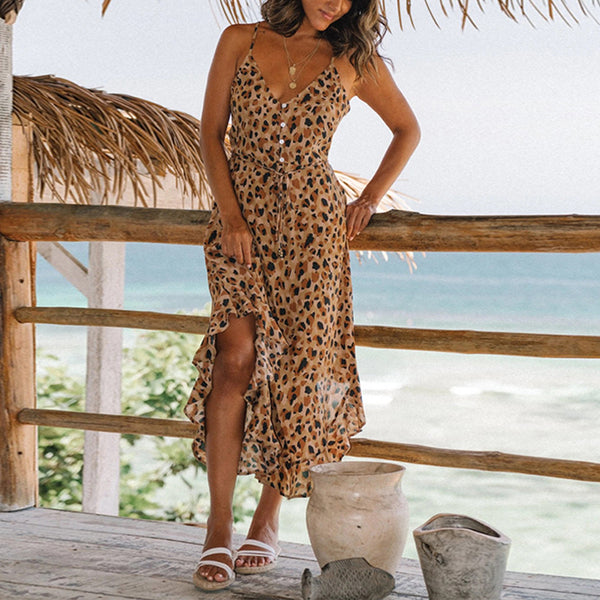 Casual Vacation Leopard-print Single-breasted Ruffled Dress