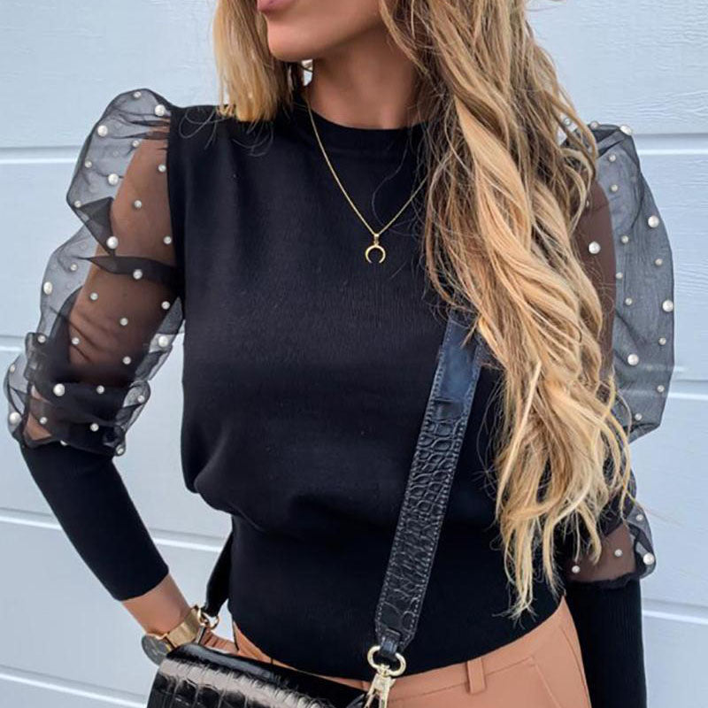 Women's round neck lace puff sleeve bottoming shirt
