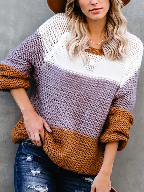 Women's casual color matching sweater