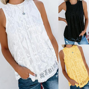 Round Neck  Decorative Lace Blouses