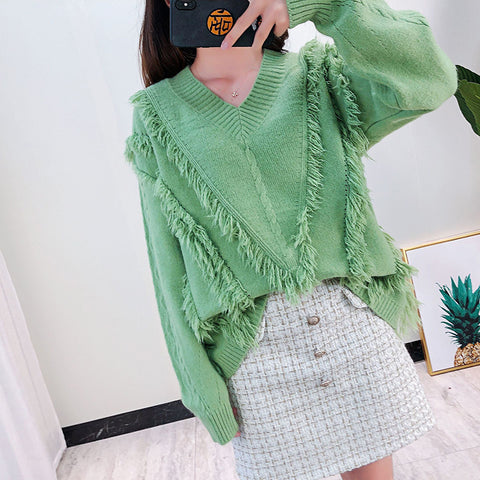 Pure Color V-Collar Long-Sleeved Knitted Sweater