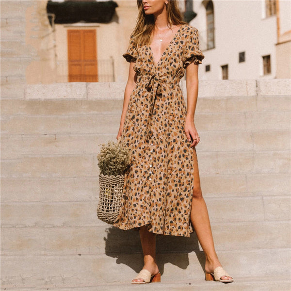 Bohemia Leopard Printed Short Sleeve Dress