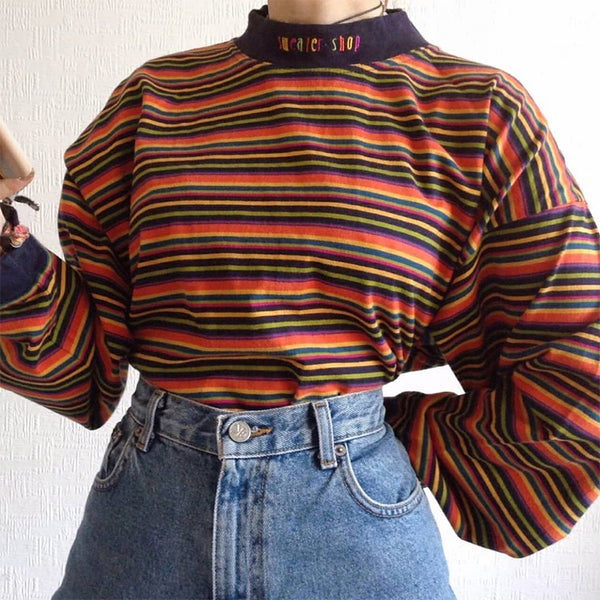 Fashion Round Neck Striped Long Sleeve Sweater