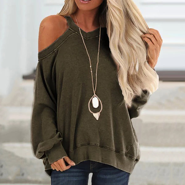 Casual Solid Color Strapless V-neck Loose Long-sleeved Sweatershirt