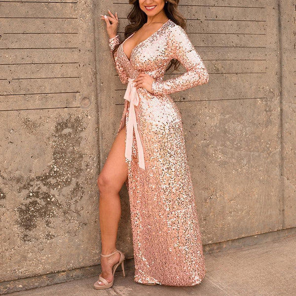 Pink V-neck Sexy Stretch Sequined Lace Dress