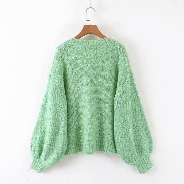 Daily Pure Color V Neck Long Sleeve Sweater