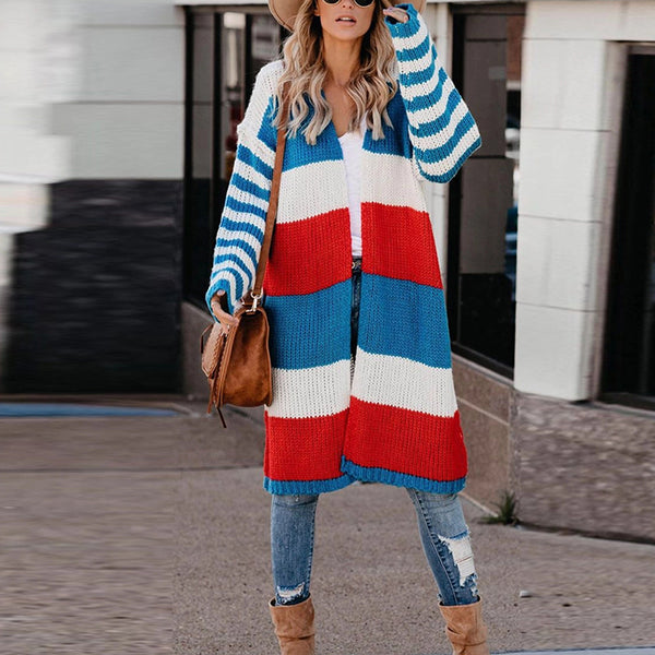 Leisure Long Sleeve Striped Splicing Cardigan