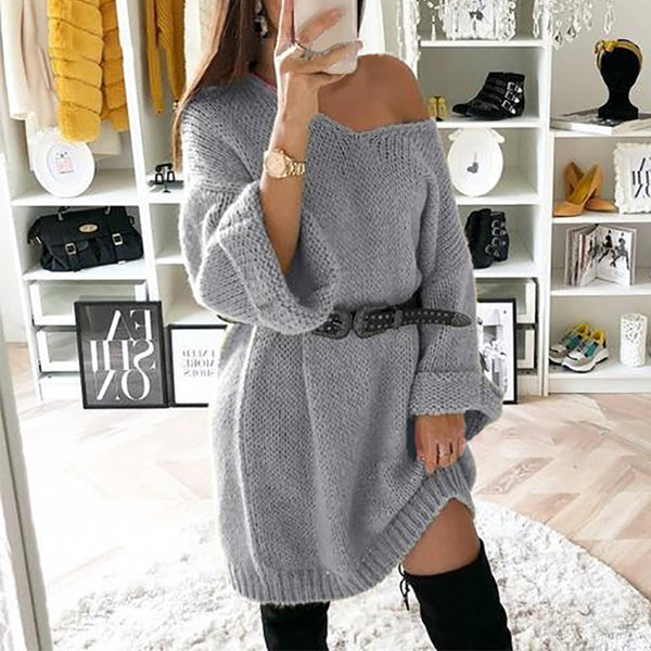 Fashion Women's Long-sleeved Off-the-shoulder Sweater Dress