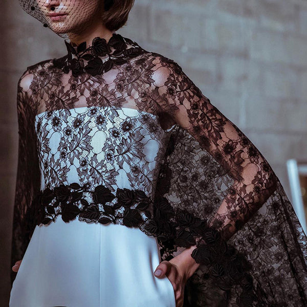 Women's Fashion Exquisite Perspective Embroidered Lace Shawl Blouse