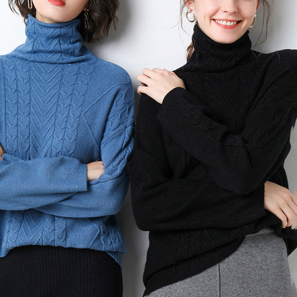 Elegant Solid Turtleneck Sweater