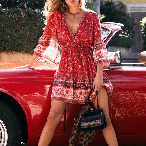 Fashion Deep V Neck Printed Bell Sleeve Dress
