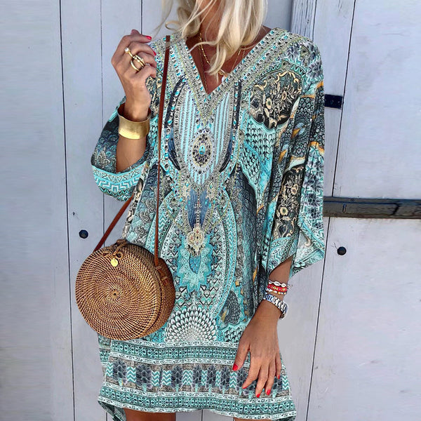 Bohemian V Neck Long Sleeve Printed Mini Dress