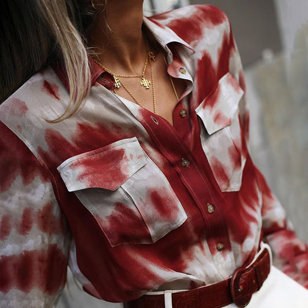 Fashion fold collar red and white printed long sleeve pocket Blouse