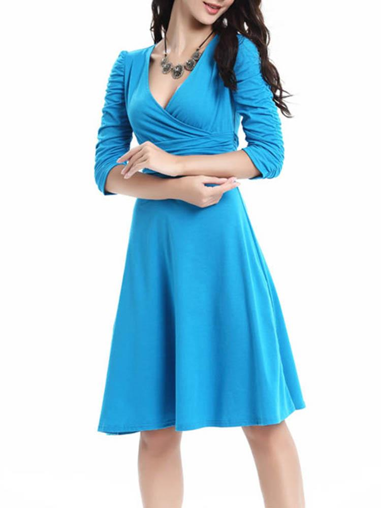 Deep V Collar Pure Color Half Sleeve Skater Dress