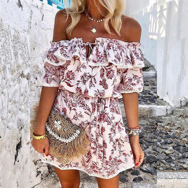 Off Shoulder Floral Print Skater Dresses