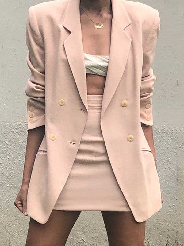 Work Long Sleeve A Lapel Pure Color Suit