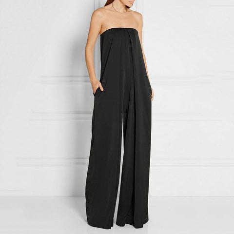 Sexy Boat Neck Pure Color Sleeveless Jumpsuit