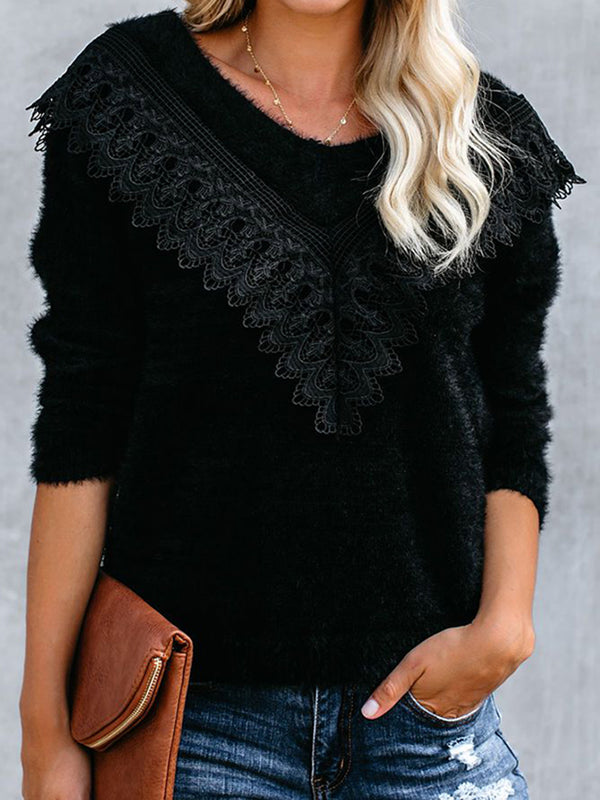 elegant lace round neck long sleeves fluffy black sweater
