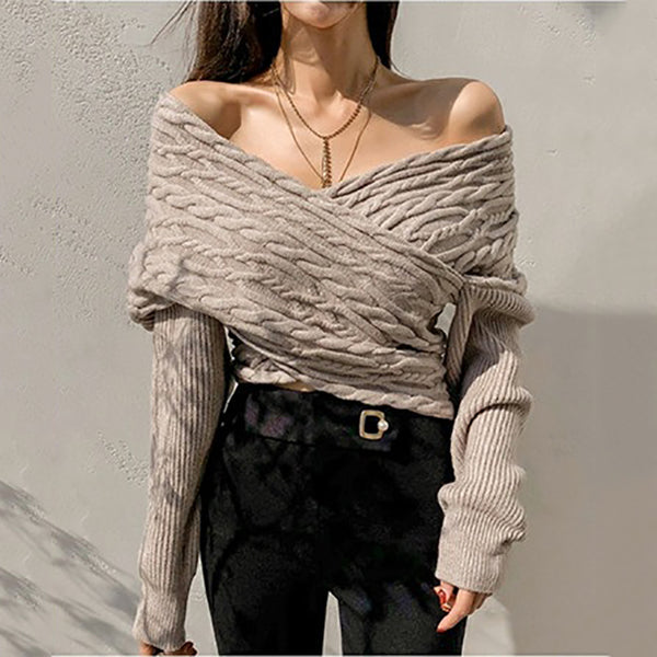 Fashion V-collar printed long-sleeved sweater