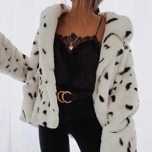 Women's Casual Turndown Collar Plush Printed Color Coat