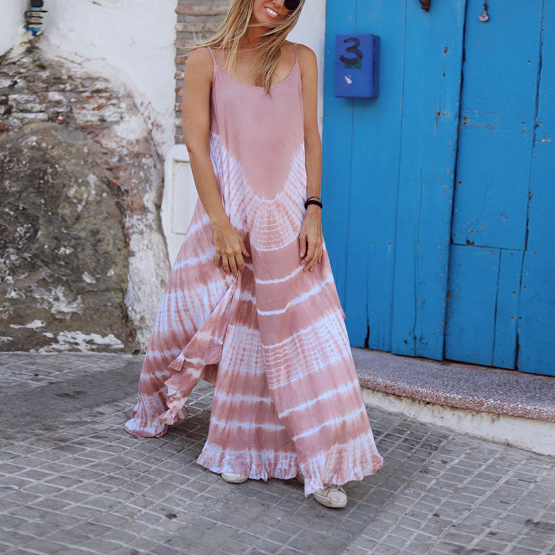 Summer Sleeveless Gradient Maxi Dress Loose Stripe Dress