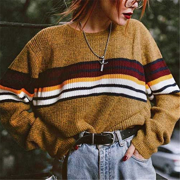 Fashion women's stitching color sweater